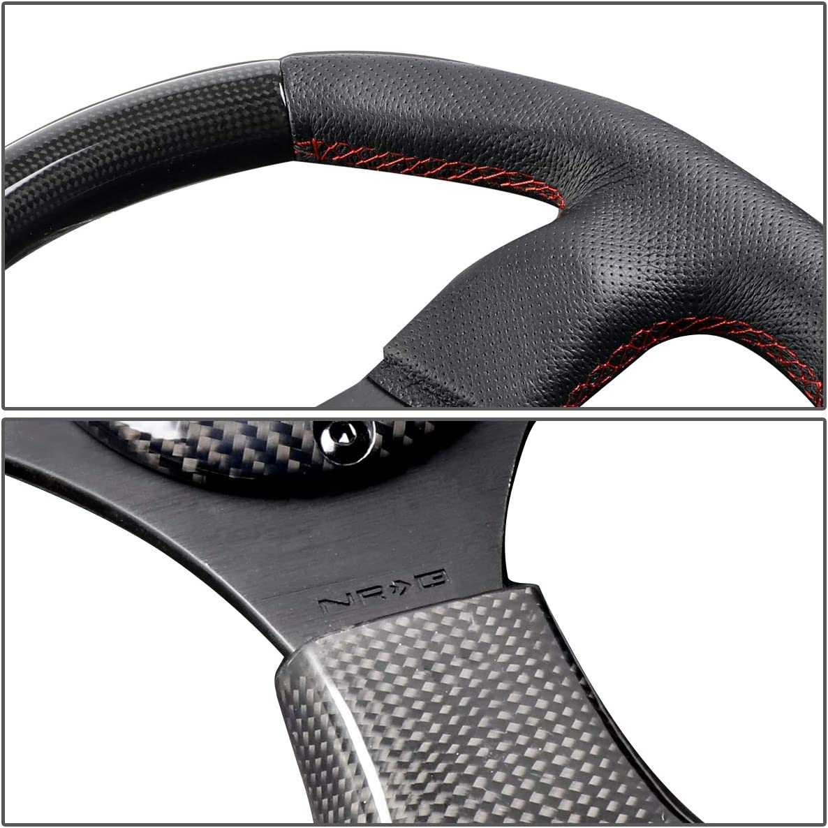NRG Innovations ST-009CFRS Carbon Fiber Steering Wheel with Red stitching 320mm Flat Bottom
