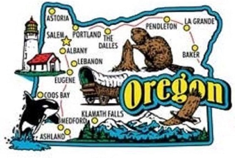 Oregon Jumbo State Map Fridge Magnet