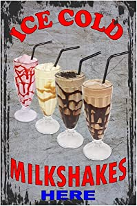 Ice Cold Milkshakes Here Delicious Milkshake Best in Town Metal Sign,Vintage Metal Tin Sign Retro Pubic Decor 8X12 inch