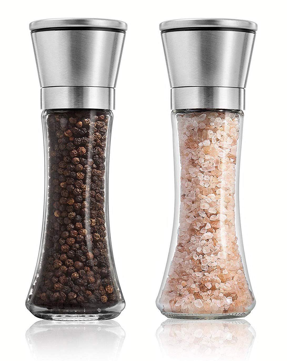 Salt And Pepper Grinder Set Of 2 - Premium Stainless Steel Mill Set - Enjoy Your Favorite Spices, Fresh Ground Pepper, Himalayan Or Sea Salts E-COMMERCE BASICS SPM-A0801