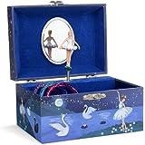 Jewelkeeper Girl's Musical Jewelry Storage Box with Spinning Ballerina, Glitter Design, Swan Lake Tune