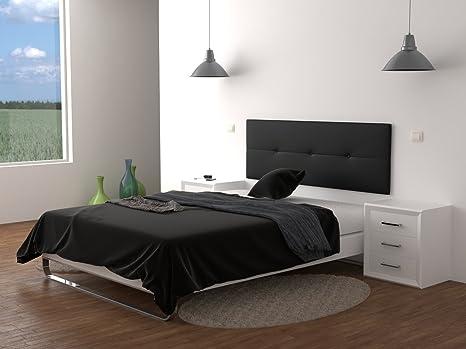 LA WEB DEL COLCHON Cabecero de Cama tapizado Acolchado Julie 160 x 55 cms. para Camas de 135, 140, 150 y 160 cms. Polipiel Color Negro. Incluye ...
