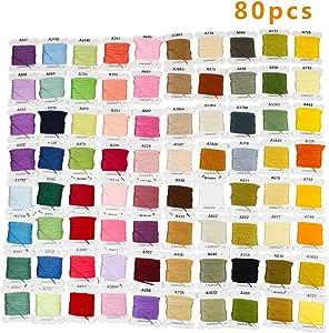 GuoFa hilo de bordar 80 madejas de algodón colorido pulsera ...