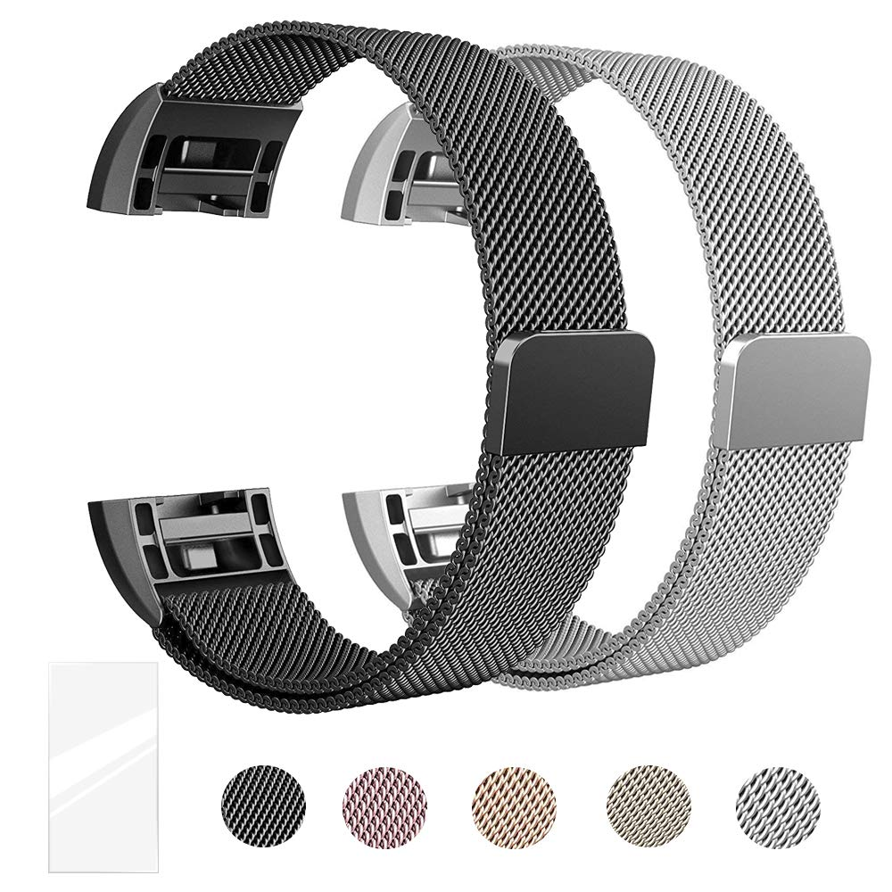Super Vaule Metal Bands Compatible for Fitbit Charge 2, Milanese Stainless Steel Metal Magnetic Replacement Wristband Small & Large Women Men,Mother's Gift