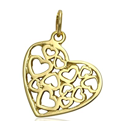 Solid 9ct yellow gold filigree heart pendant charm for necklace solid 9ct yellow gold filigree heart pendant charm for necklace jewellery gift chain not included aloadofball Images