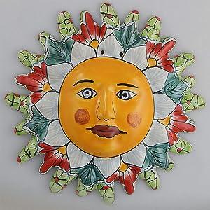 Mexican Talavera Ceramic Sun Face Wall Decor Hanging Pottery Folk Art # 09