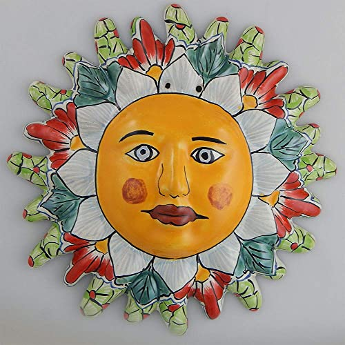 Mexican Talavera Ceramic Sun Face Wall Decor Hanging Pottery Folk Art 09