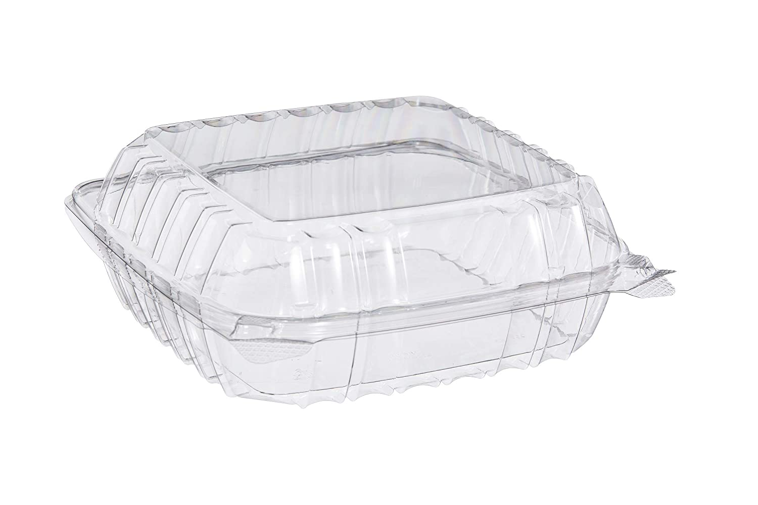 (250 PACK-8X8X3) Clear Plastic Food Container with Hinged Lid Clamshell Container Food Prep to go Container Great for Salad or Dessert Reusable Plastic Containers with Lids