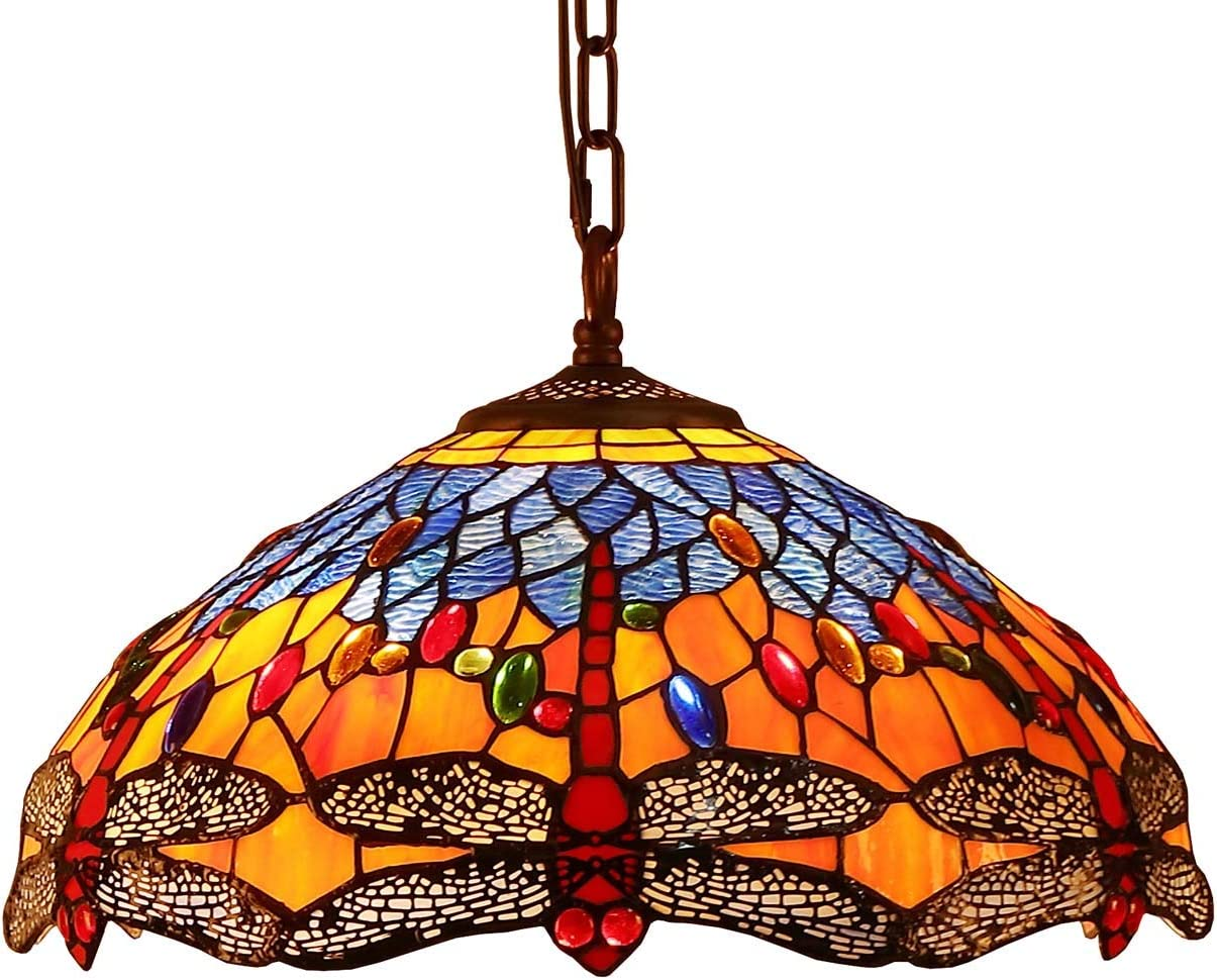 Bieye L10709 Dragonfly Tiffany Style Stained Glass Ceiling Pendant Fixture with 16 Inch Wide Complex Design Lampshade, Orange Blue
