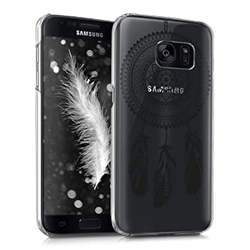 kwmobile Funda para Samsung Galaxy S7 - Carcasa de plástico para móvil - Protector Trasero en Negro/Transparente