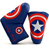 Lion Custom Shop Captain America Golf Headcover for Midsize Mallet & Blade Putter, Blue