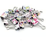 Zicome 50 Pack Colorful Printed Binder Clips, Assorted Sizes, (3/4 Inch, 1 Inch, 1-1/4 Inch)