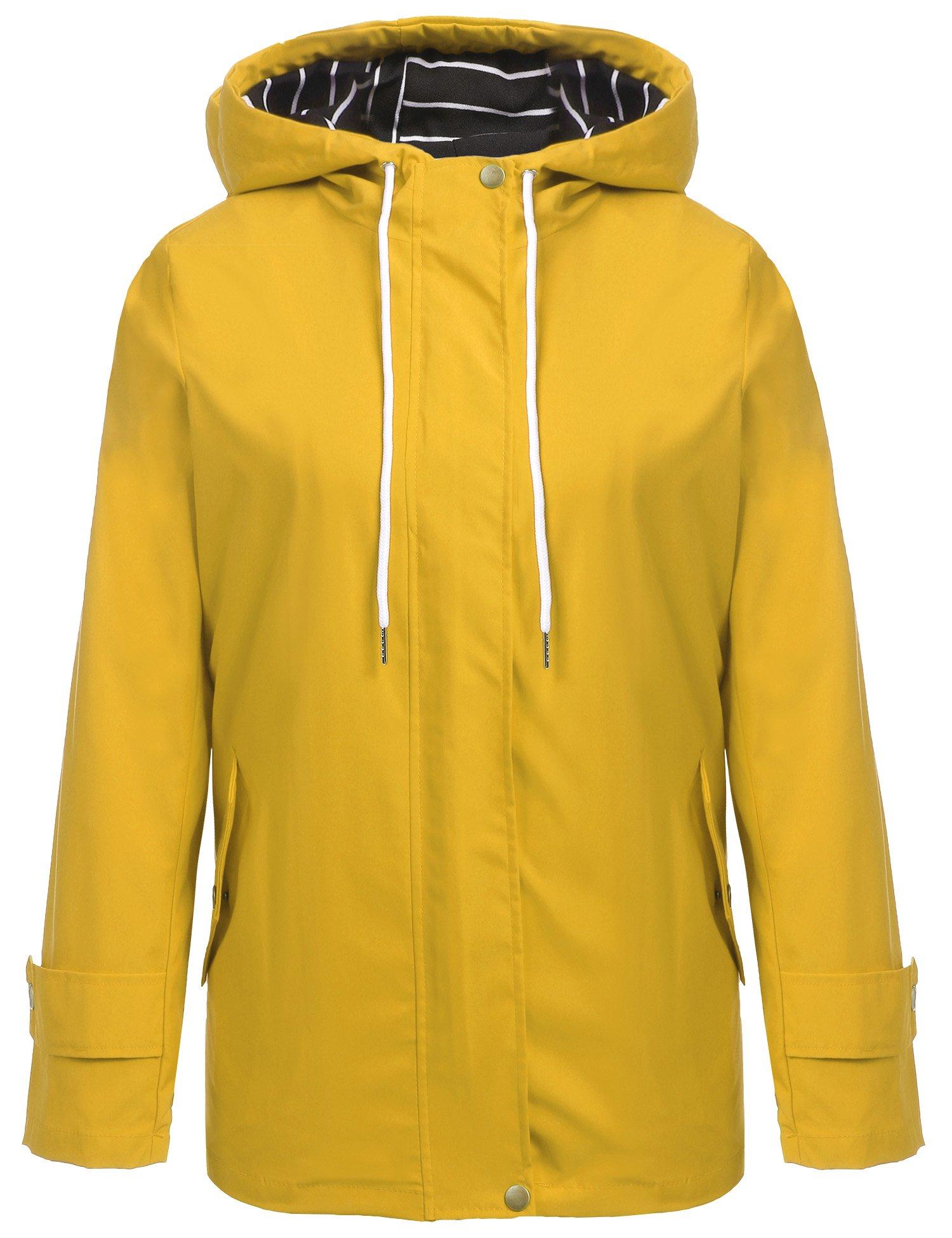 Hount Women Waterproof Lightweight Hooded Raincoat Jacket Solid Rain Jacket Poncho (Middle, Yellow)