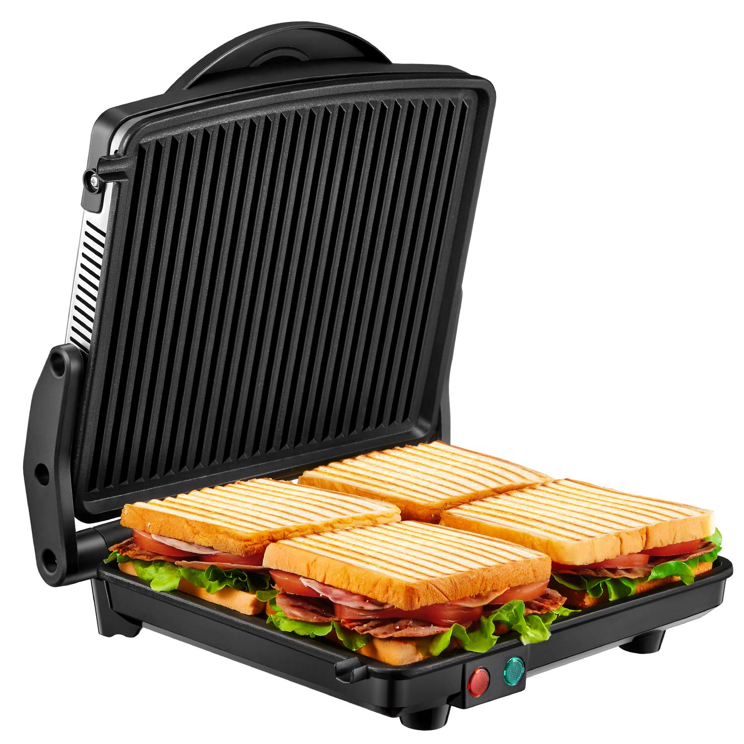 Panini Press Grill, Kealive 4-Slice Extra Large Gourmet Sandwich Maker Grill, Opens 180 Degrees to Fit Any Type or Size of Food, Non-Stick Coated Plates, Stainless Steel Surface and Drip Tray, 1200W by kealive