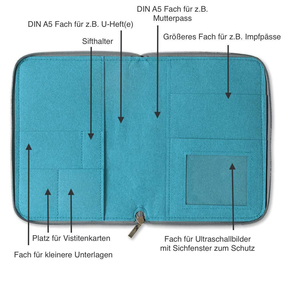 Farbe w/ählbar   H/ülle in A5 als Uheft- und Mutterpassh/ülle 2in1 Mom/'s Organizer Bl/ümchen mit rundum Rei/ßverschluss aus Filz f/ür Mutterpass /& U-Heft aqua