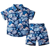 Hywer Summer Casual Baby Boys Clothing Set Floral Printed Short Sleeve and Short Pants