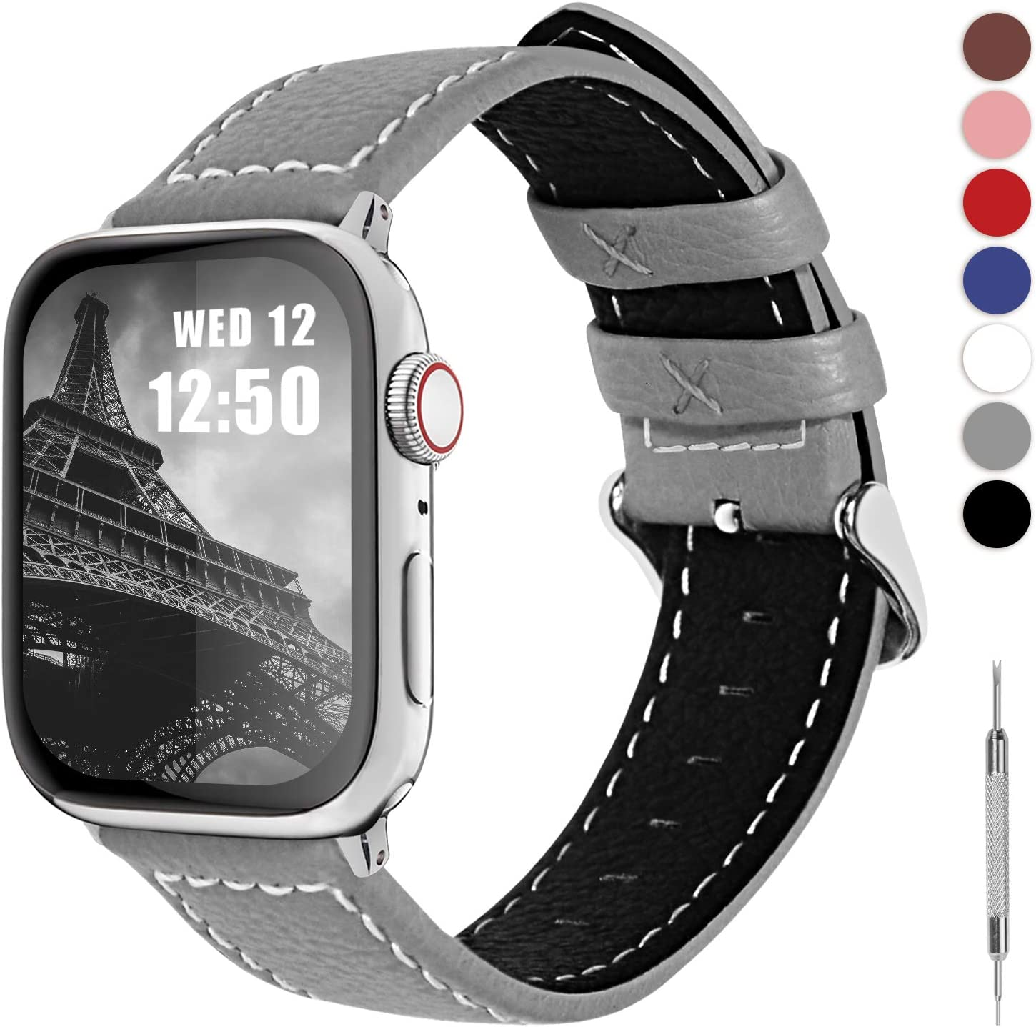 Fullmosa LC-Jan Cuero Correa, 7 Colores Correa Compatible Apple Watch/iWatch Series 5, Series 4, Series 3, Series 2, Series 1, 38mm, 42mm, Gris 42mm: Amazon.es: Electrónica