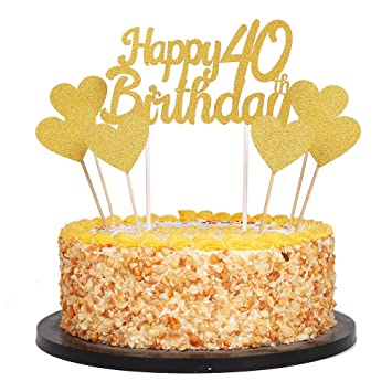 Marvelous 80Th Qiynao Gold Glittery Happy Birthday Cake Toppers And Love Funny Birthday Cards Online Elaedamsfinfo
