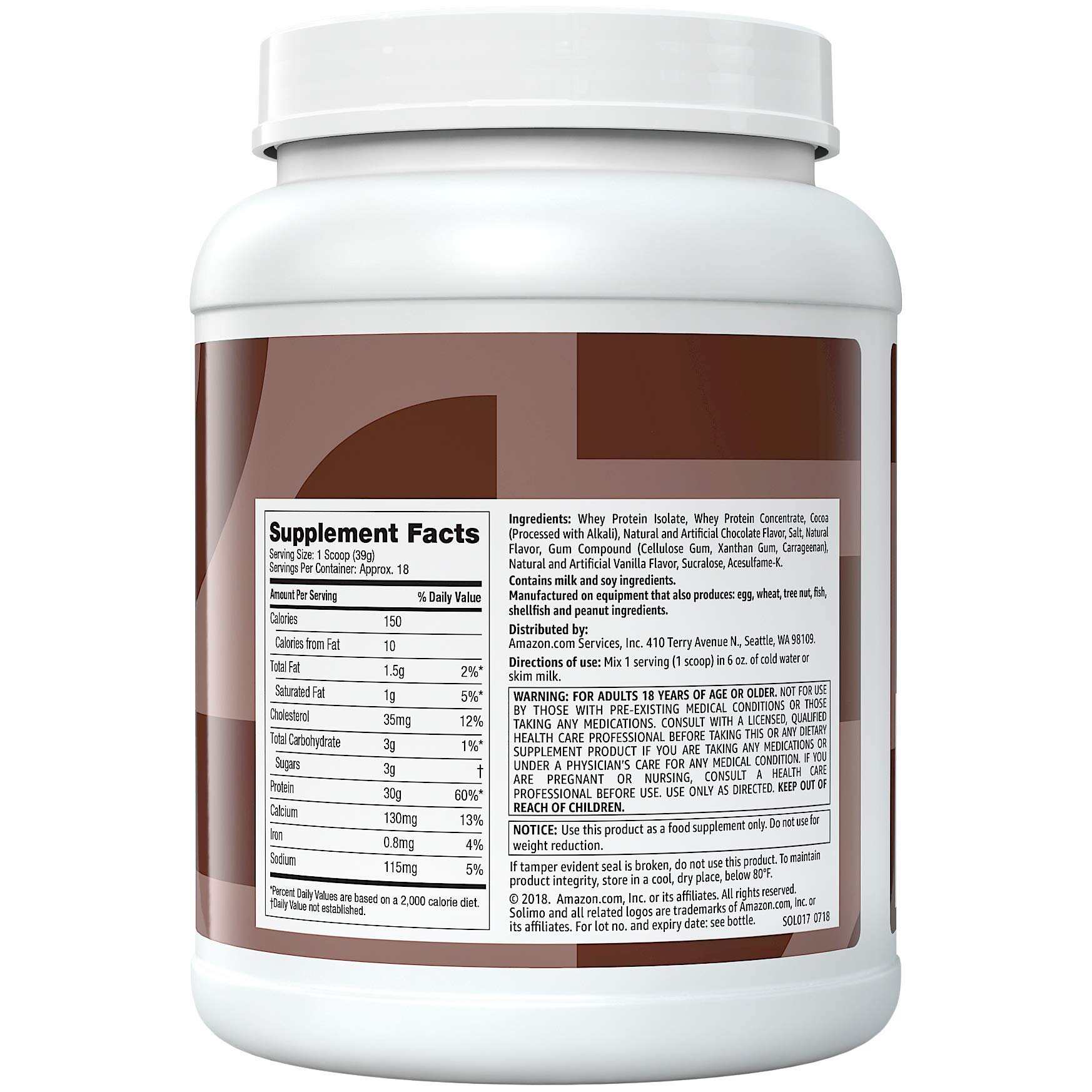 Amazon Brand - Solimo Whey Protein Isolate Blend, Chocolate, 1.5 Pound (18 Servings) by SOLIMO (Image #2)