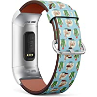 Compatible with Fitbit Charge 3 / Charge 3 SE - Leather Watch Wrist Band Strap Bracelet with Stainless Steel Clasp and Adapters (Alpaca Cactus Plants)