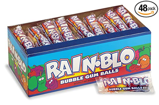 Rain-Blo Bubble Gum Balls, 0.53 Ounce, Pack of 48