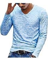 Maglietta a Maniche Lunghe Collo-V Colore Screziato Slim Fit Maglia