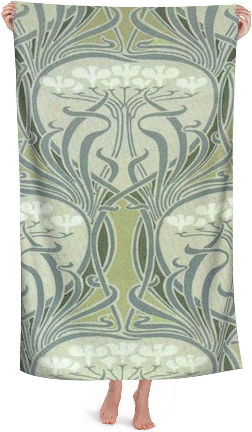 Bath Towels,Art Nouveau Decor Bath Sheet-Quick Dry,Highly Absorbent,Soft Feel Towels,Perfect for Daily Use 130x80cm