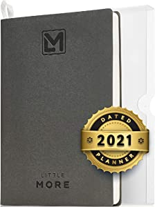 """Little More Daily Organizer Planner in Protect Box - Daily Dated Planner to Achieve Goals - A5 Vegan Leather 5.5""""x8.5"""