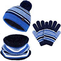 Juego de guantes de invierno para niños y niñas, gorro de punto para el cuello, 3 unidades, con pompones a rayas para…