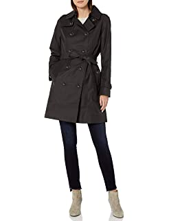 YUNY Womens Removable Cups Wool-Blend Shawl Faux Fur Collar Pea Coat Red M