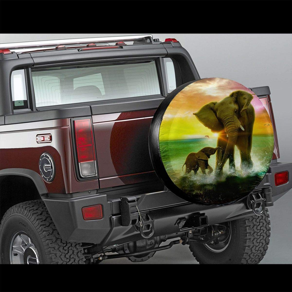 Elephant in Rainbow Background Potable Polyester Universal Spare Wheel Tire Cover Wheel Covers Jeep Trailer RV SUV Truck Camper Travel Trailer Accessories 15 in Vbnbvn Spare Wheel Cover