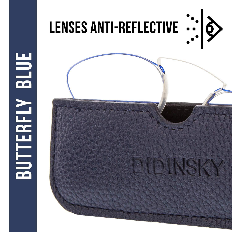 Anti-reflejantes y Anti Luz Azul Flexibles Irrompibles de Bolsillo HERMITAGE BUTTERFLY Gafas de Lectura sin Patillas Graduadas Anti-bluelight para Hombre y Mujer 3 colores y 5 graduaciones