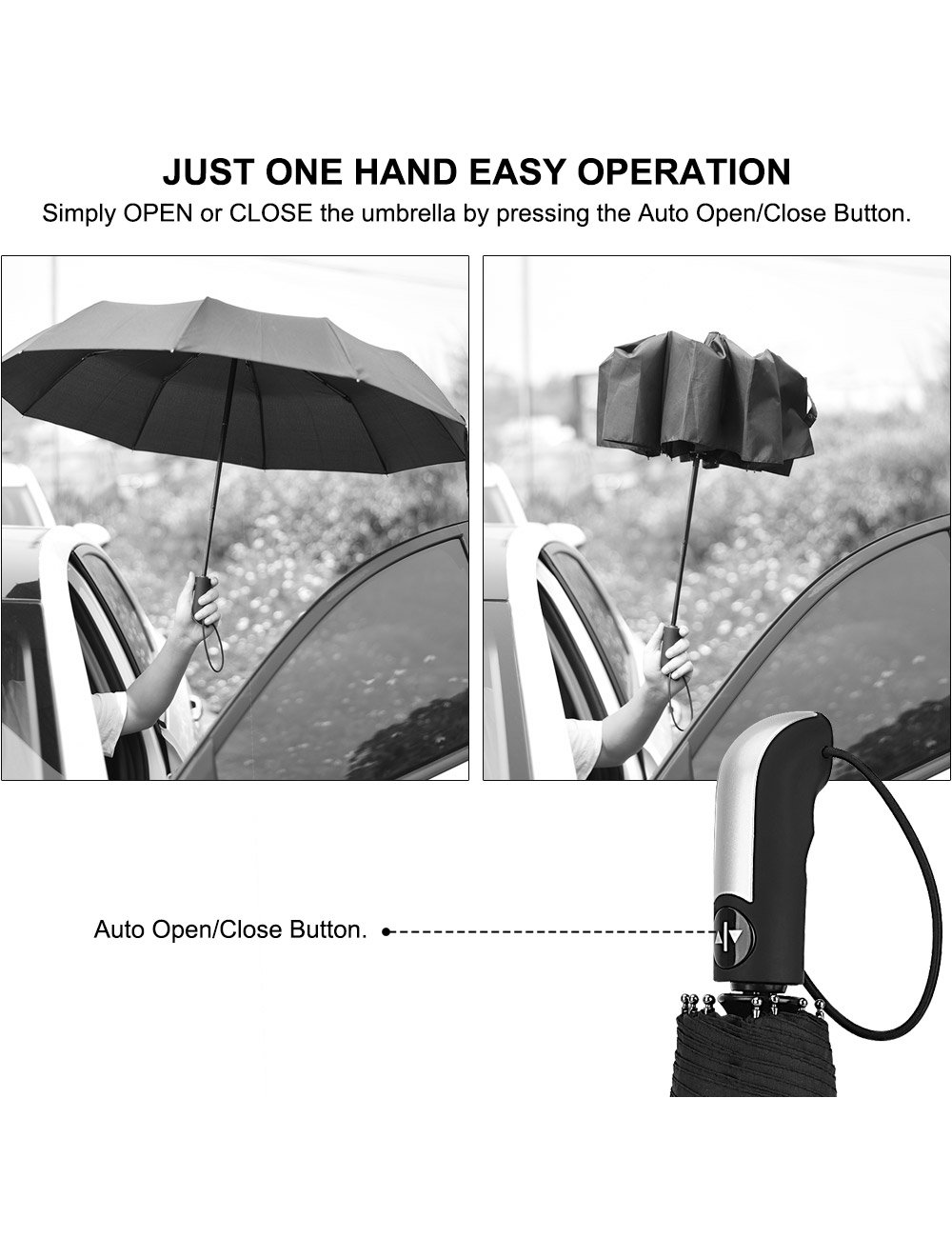 Beownwear Travel Umbrella Windproof Folding Automatic Umbrellas 10 Ribs(Black) by Beownwear (Image #5)