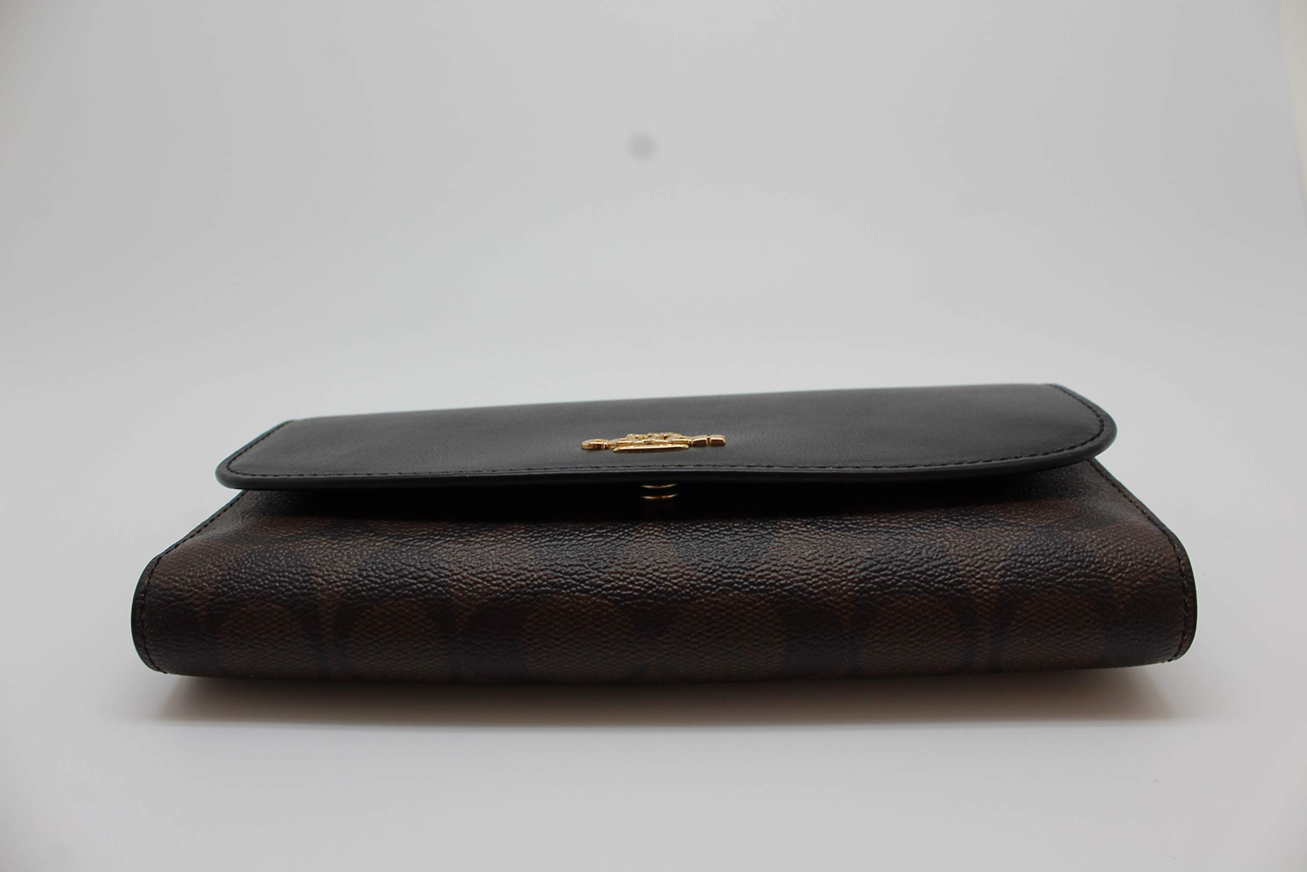 Coach Signature PVC and Leather Checkbook Wallet (Brown Black)