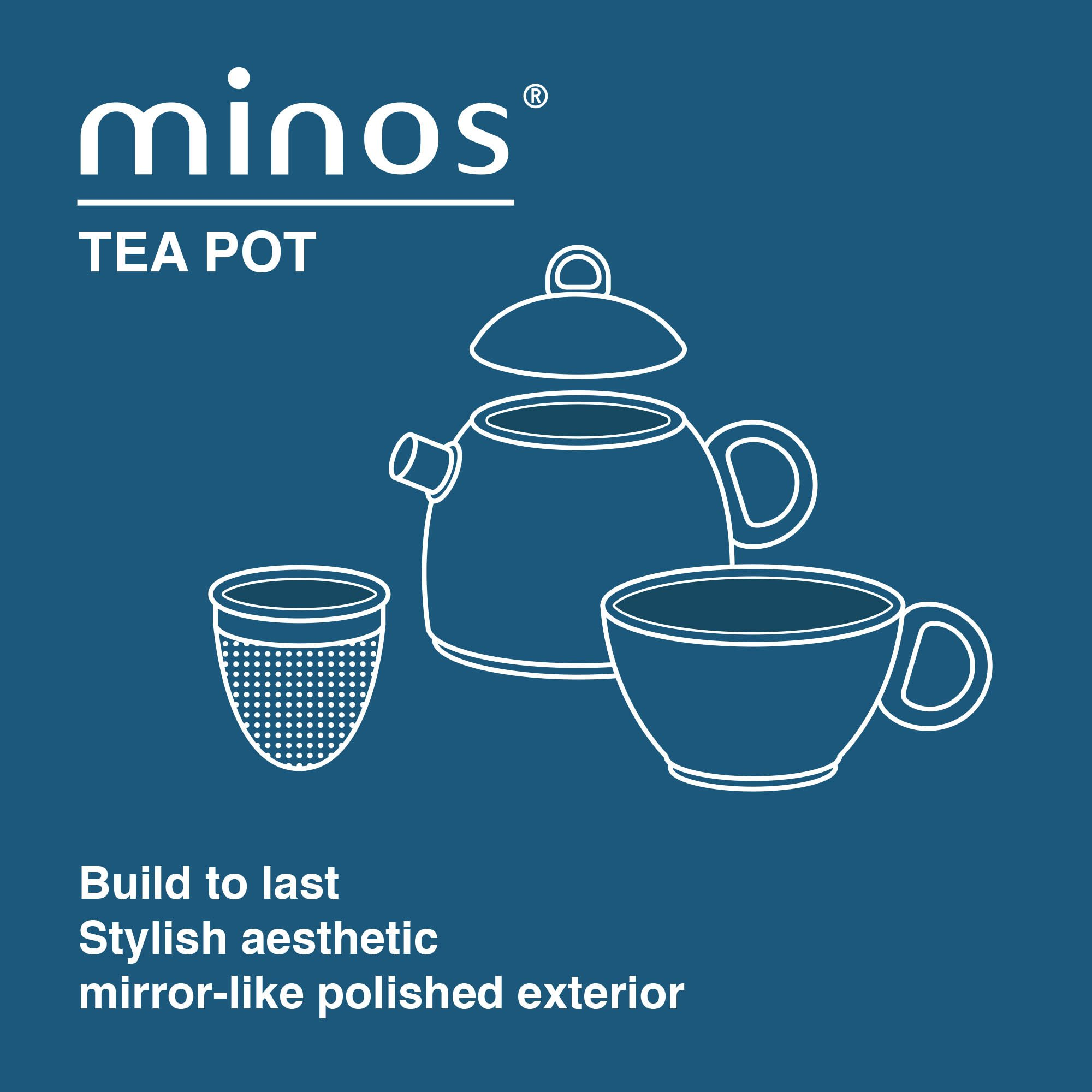 Minos Stunning Stainless Steel Teapot And Cup For One Set With Silicon Handle - 8.5 OZ Liquid Capacity - Hand-polished, Scratch, Wear and Tear Resistant Best for Serving Tea and Coffee by Minos (Image #4)