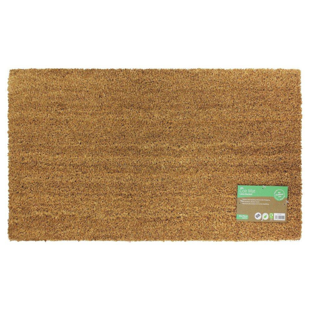 JVL Manor Plain Natural Coir Backed Door Mat, Latex, Brown, 40 x 60 cm 02-240