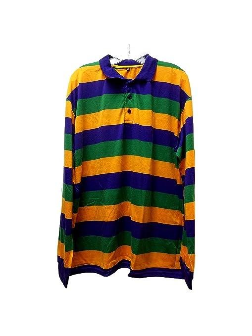 66169e981 Amazon.com   Adult 2X Mardi Gras Stripe Purple Green Yellow Long Sleeve  Polo Shirt   Everything Else