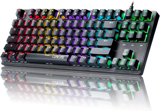 CHONCHOW Teclado mecánico para Juegos con retroiluminación y 87 Teclas, LED, sin tenos, con Cable, mecánico, Azul, Compatible con Windows PC, Mac ...