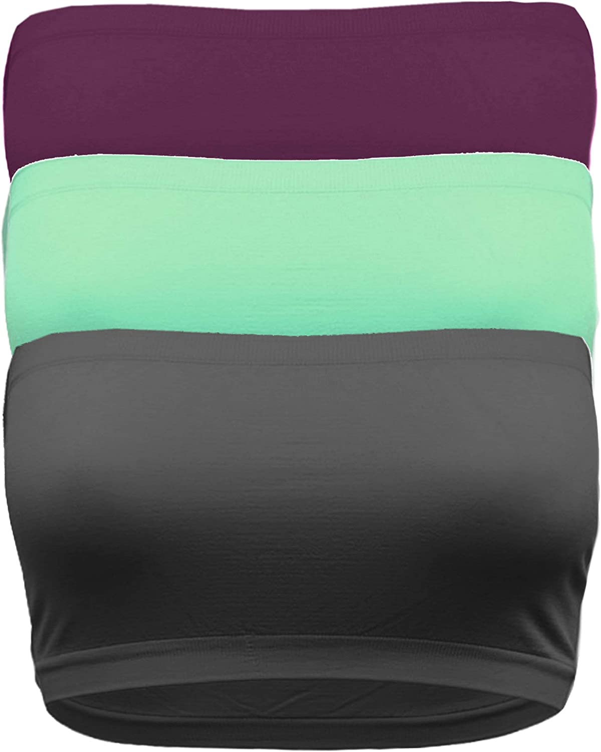 OLLIE ARNES Plus Size Bandeau Bra Tube Top Wirefree Seamless Strapless for Large Bust