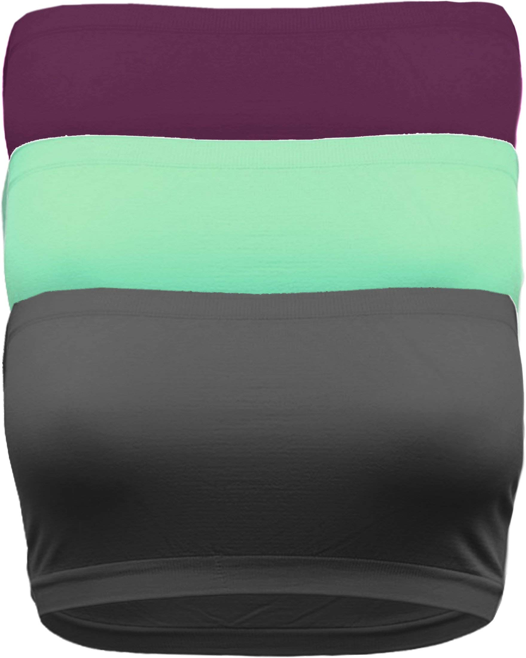 OLLIE ARNES Women's One Size Strapless Seamless Stretch Bandeau Tube Bra Top PLM_MNT_DKGRY-OS by OLLIE ARNES