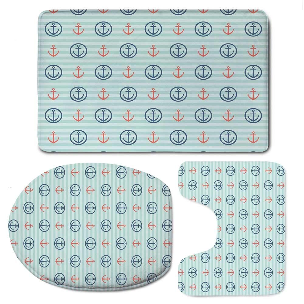 YOLIYANA Anchor Bathroom 3 Piece Mat Set,Summer Holiday Adventure Horizontal Striped Backdrop with Icons Bon Voyage Decorative for Indoor,F:20'' W x31 H,O:14'' Wx18 H,U:20'' Wx16 H