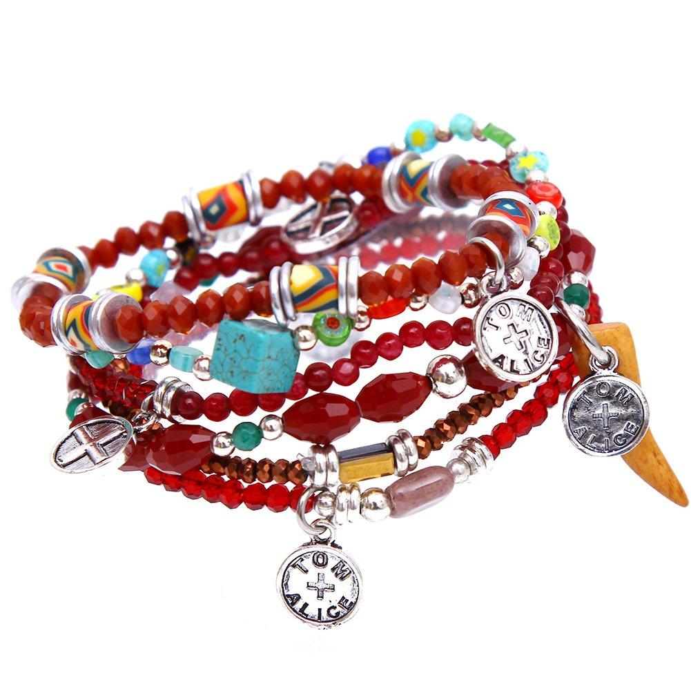 tom+alice Fashion Natural Gemstone Multilayer Bracelet for Women Bohemian Stretch Bracelet Customized Style Chrismas Jewerly/Bridesmaid Gift Silvering