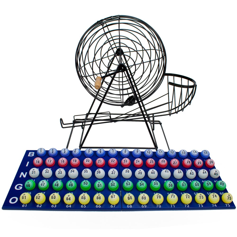 Professional Jumbo Size Deluxe Bingo Set with 19 Inch Cage & Large Balls! by Brybelly