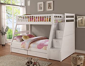 Twin Full Storage Step Bunk Bed 2 Drawers White Amazon Co Uk