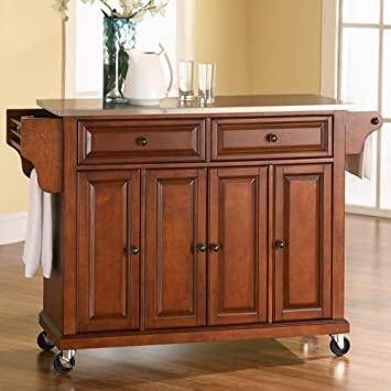 Crosley Furniture Rolling Kitchen Island With Stainless Steel Top Classic Cherry
