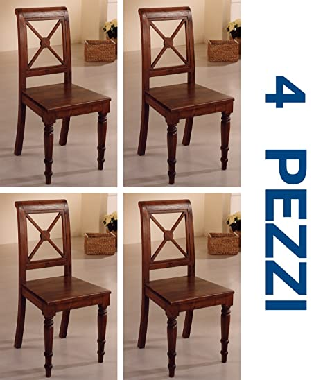 Set 4 Sedie provenzali stile etnico coloniale in vero legno di teak ...