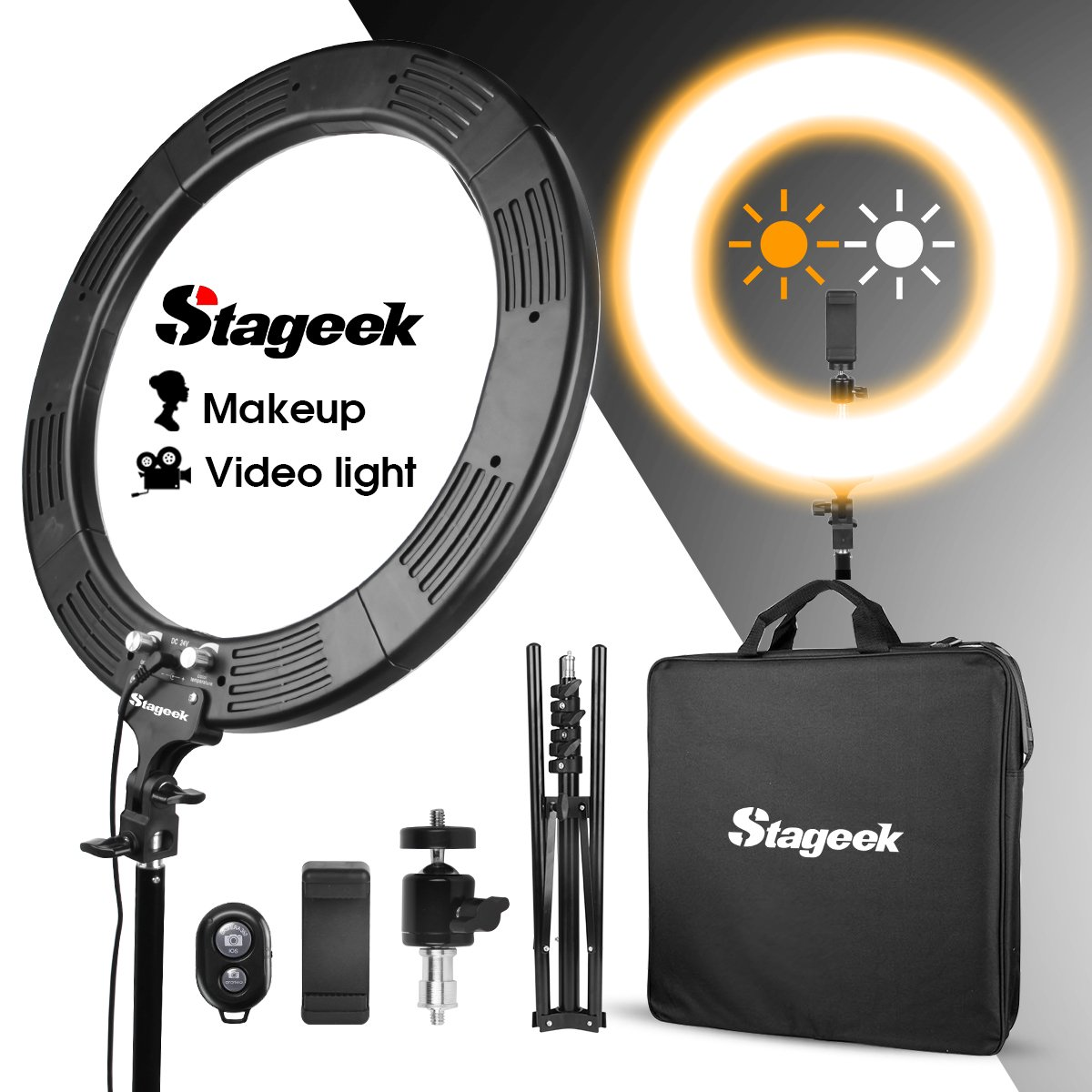 LED Ring Light, Stageek 18'' Dimmable SMD LED Ring Light, 60W 5600K Bi-Color Camera Photo Video Lighting Kit with Tripod Stand, Phone Holder, for Smartphone,Youtube, Self-Portrait Makeup Video Shooting