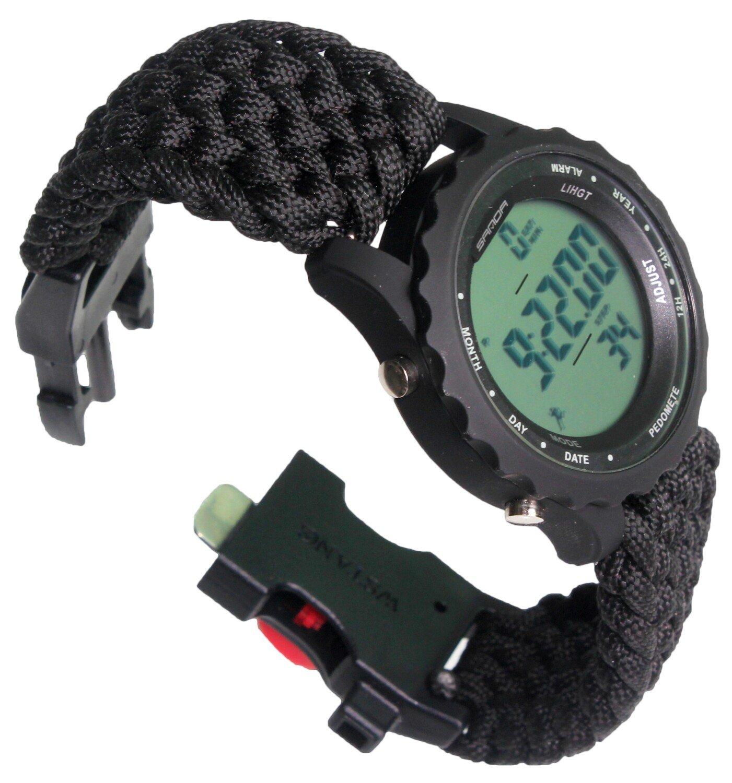 Paracord-DIY 9½'' Men Sports Watches Waterproof Step Counter Fun Digital Watch Water Shock-Proof LED Digital