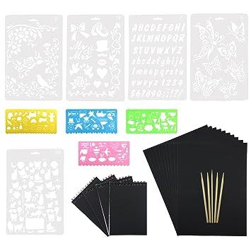 Wartoon 50 Feuilles Rainbow Scratch Art Papier Papiers De Peinture Magique  Scratch Conseils Avec Une Pièces