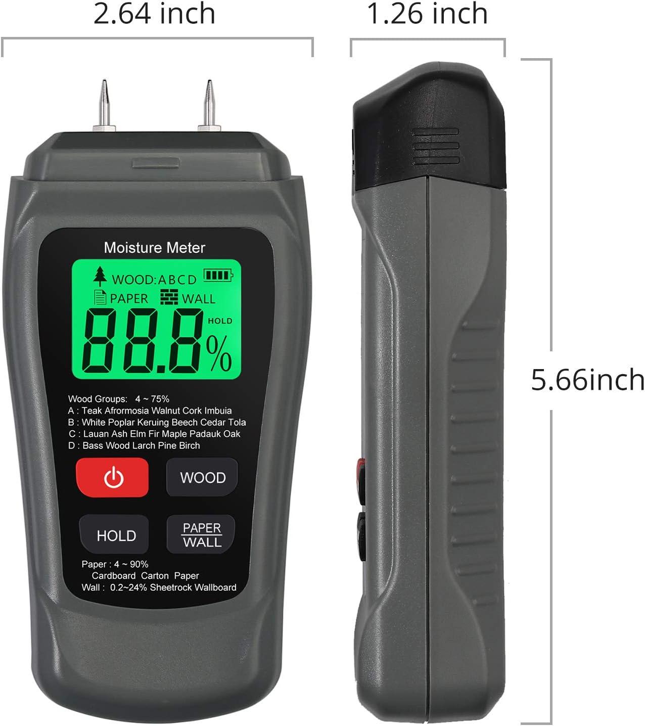 AAA avec 2 Broches de Sonde de Test Testeur dHumidit/é /à Main pour Appareil de Mesure dHumidit/é du Bois LCD pour les Industries du Bois//Papier//Mat/ériaux de Construction.Inclut une Batterie 2
